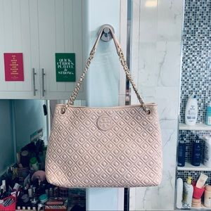 'Marion' Diamond Quilted Leather Tote